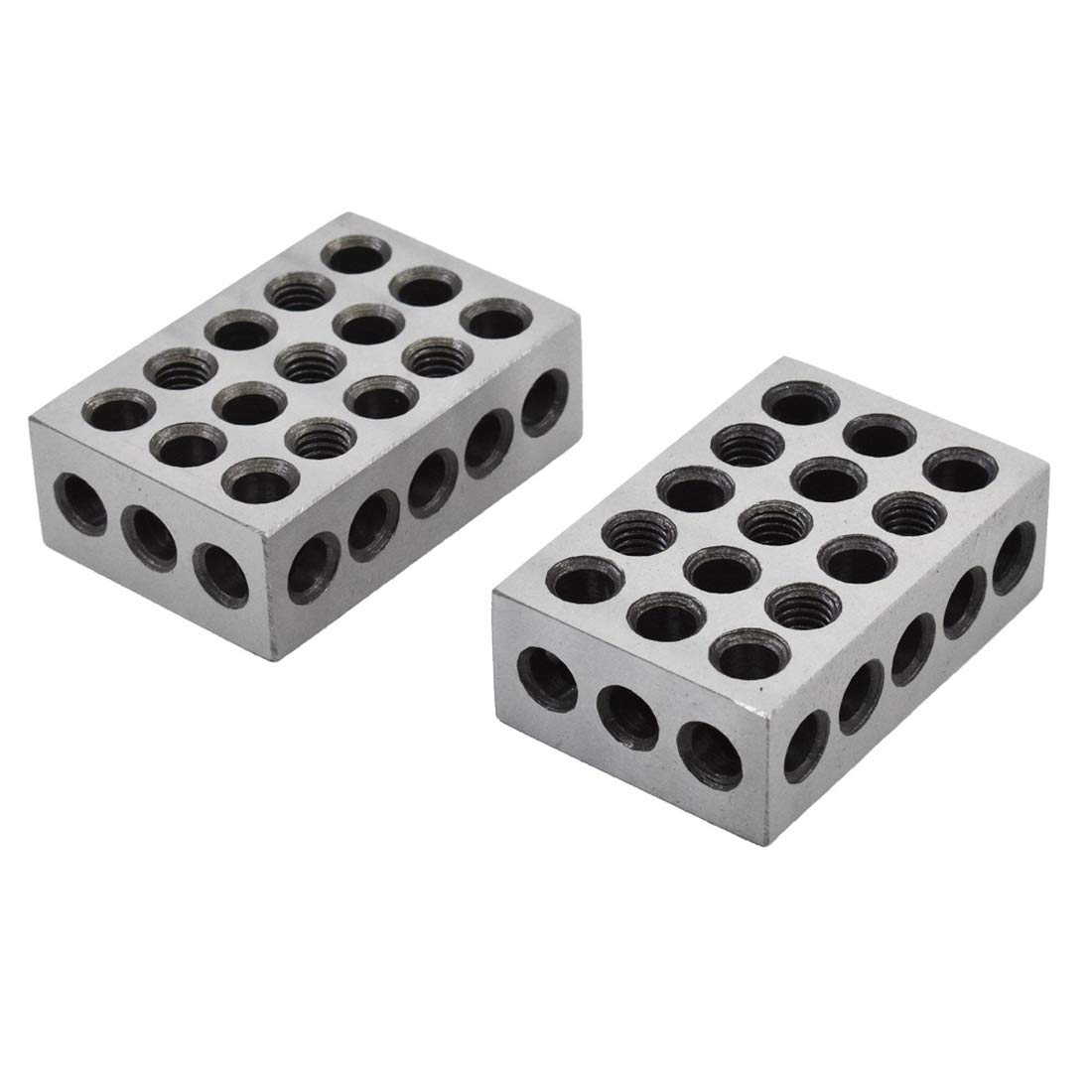 Fafeicy Precision Gauge Blocks 1-2-3 Block Matched Milling Machinist 23 Holes with Screws Wrench Case