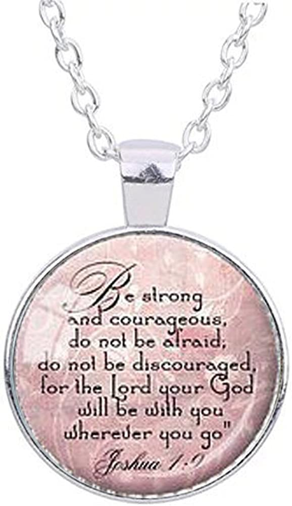 Joshua 1 9 Be Strong and Courageous Scripture Gift Bible Verse Engraved Necklace for Her