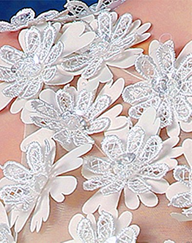 Weiß Bright mit Stoffblüten Mini am Damen DL0045 Oberteil Great Abiballkleid Kleid vxqwTPWZZ6