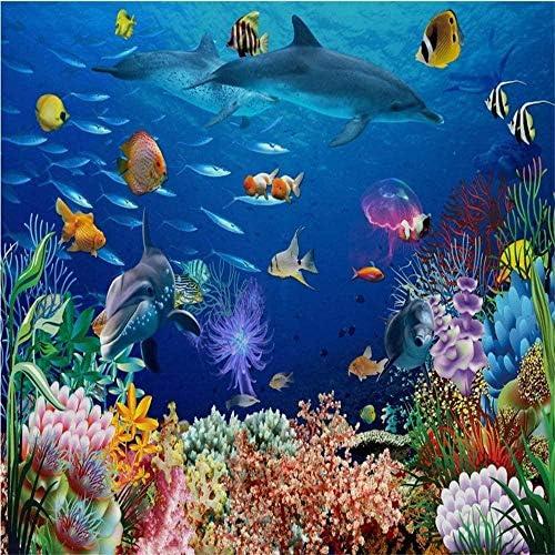 Bosakp カスタム壁画3Dファンタジーアンダーウォーターワールドファンタジーテレビ壁紙3D壁紙海底動物背景Hd 100X50Cm