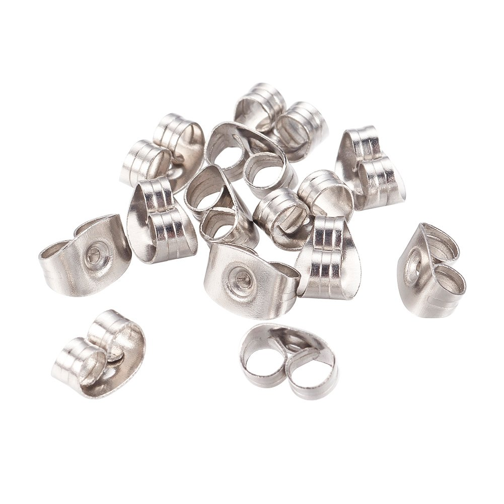 NBEADS 1000pcs Stainless Steel Earnuts Butterfly Clutches Earring Backs 6.5x4.5mm Jewelry Earring Making Findings STAS-Q037-1-US6
