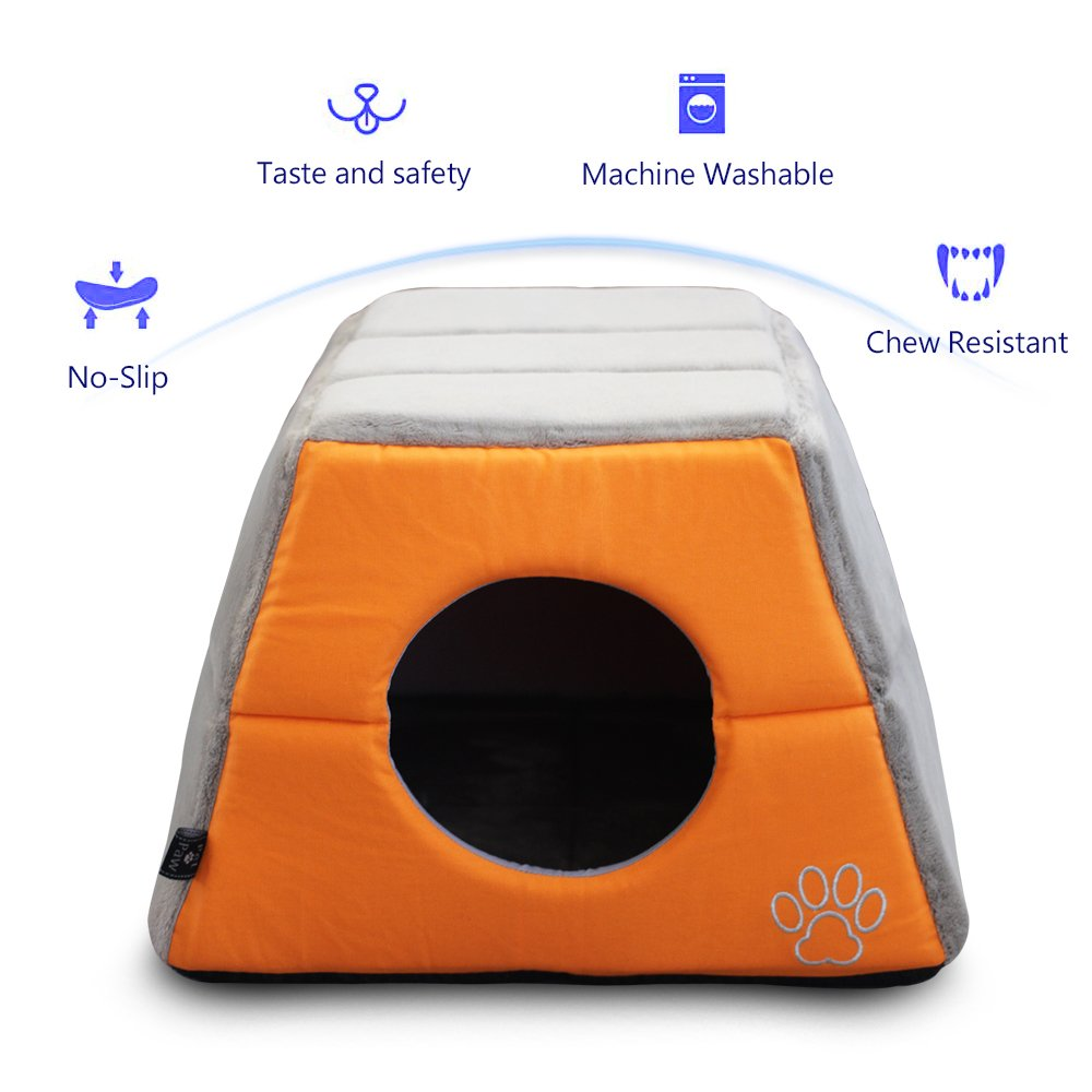 Kingfa Cave Shape Unique 2-in-1 Cat Bed Cat Condo Cat House Pet Bed Fade Resistance- Improved Sleep