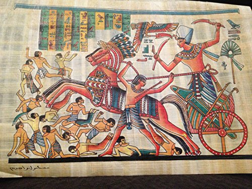 The Battle of Kadesh Signed Egyptian Handmade Ancient painting on Papyrus Plant from Egypt