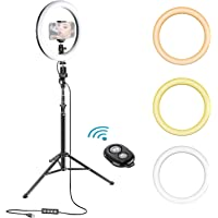 Neewer 10 Inches Dimmable LED Selfie Ring Light for Live Stream/Makeup/YouTube Video/Vlog with Adjustable Tripod Stand, Remote Control and Phone Clamp Set Compatible with iPhone Xs Max XR Android etc