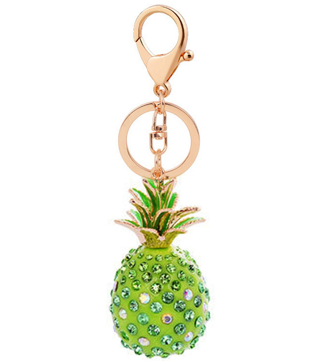 Cute Key Chain Shiny Crystal Pineapple Key Ring Mini Bag Decoration for Girls and Women(Green)