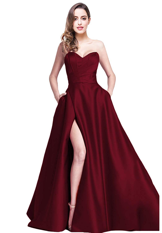4fb6d7c1374 jicjichos Women s Sweetheart Strapless Evening Dresses Satin High Slit with  Pocket Long Prom Dress J212 Size 26 Burgundy