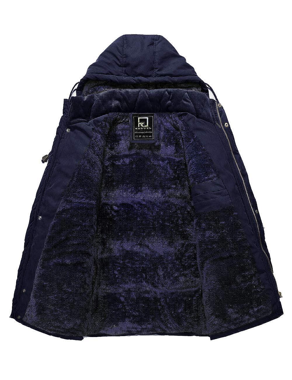R RUNVEL Parka Jacket Mens Coats with Fur Hood Winter Warm Outwear Coat