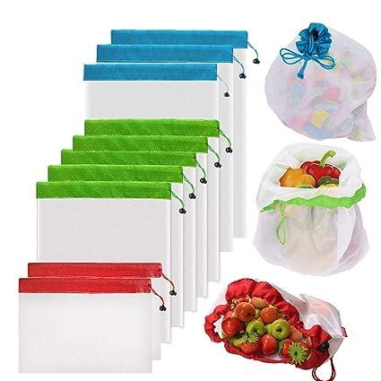 Bolsas Reutilizables Compra de YOWAO, Bolsas de Malla Ligera, Lavables y Transparentes para Almacenamiento de Frutas, Verduras, Juguetes, Comestibles ...