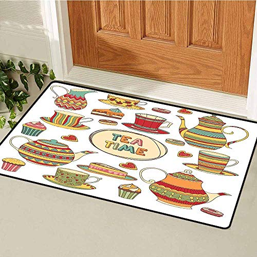 GloriaJohnson Tea Party Commercial Grade Entrance mat Tea Time Cartoon Set with Donuts Cake Slices Cupcakes Breakfast Get Together for entrances garages patios W19.7 x L31.5 Inch Multicolor