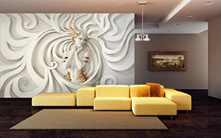 Buy 999Store lady in white textured wallpaper wall murals for ...