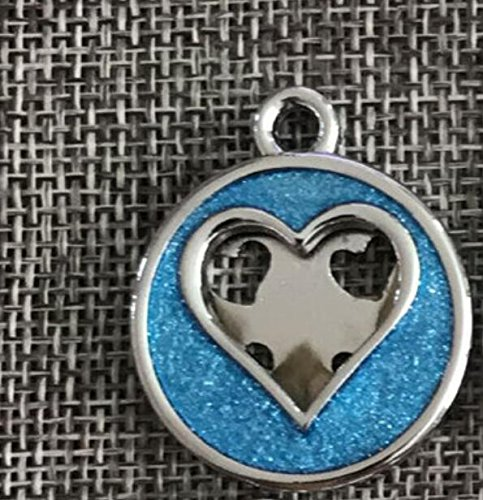 Pet Traction Rope Collar Set Heart Pattern Powder Dog Tag Dog Necklace Pendant Accessories(Light Blue)