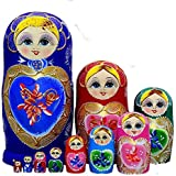 King&Light 10pcs B Heart-shaped pattern Wooden nesting toys Russian dolls Matryoshka stacking dolls