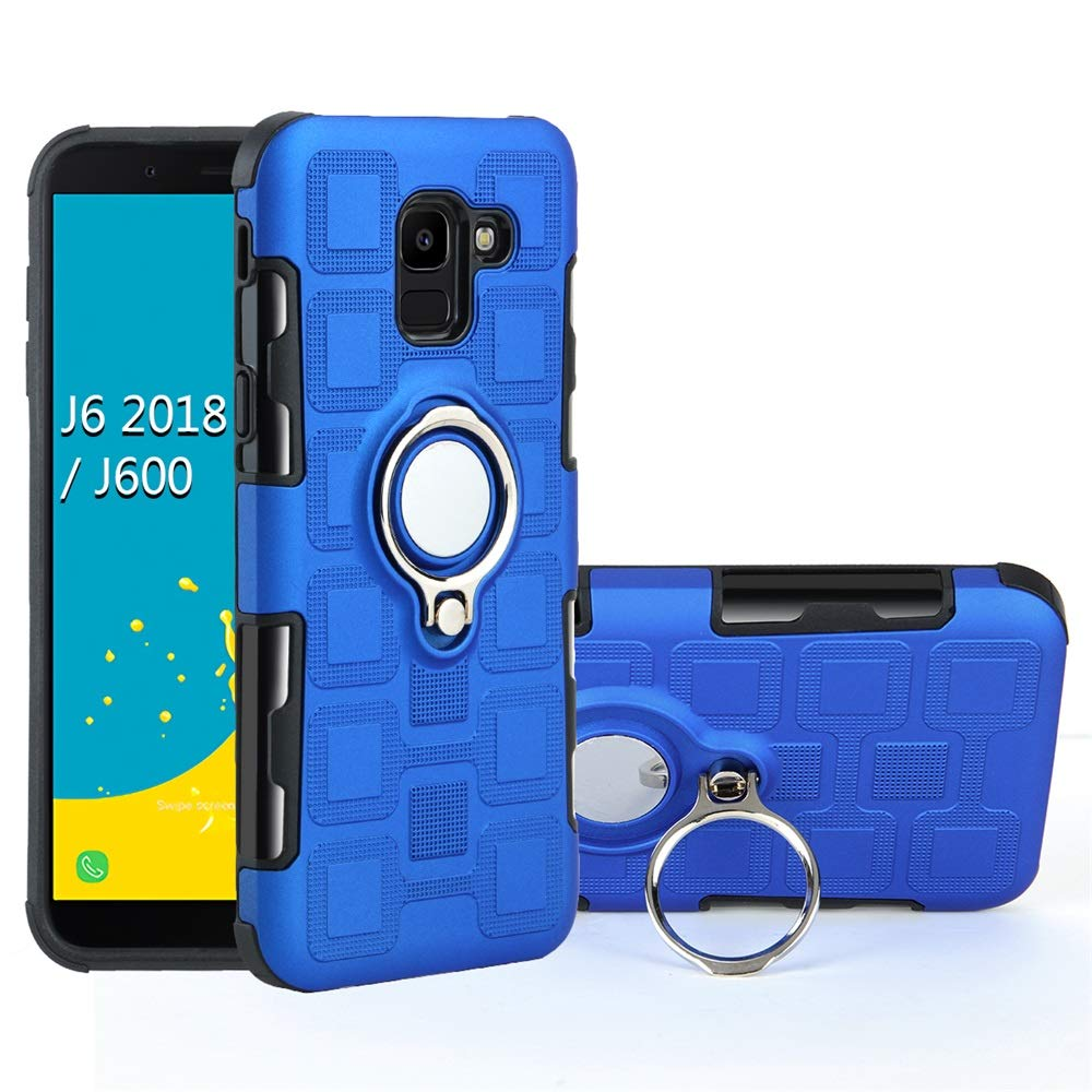 Galaxy J6 2018/J8 2018 Case, 2 in 1 360 Degree Ring Stand Dual Layer TPU Bumper Shockproof Support Magnetic Car Mount Holder Thin Case (2, Samsung Galaxy J6 2108) by 22miter