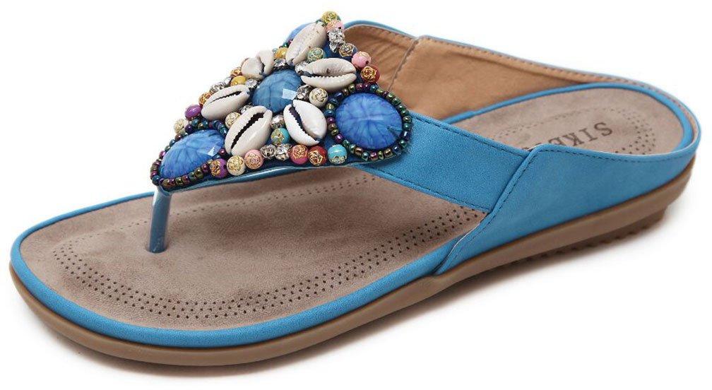 Hishoes Damen Zehentrenner Bouml;hmen T-Strap Sandalen Sommer Leder Bohemian Pantolette Flach Hausschuhe Flip Flops mit Absatz in Grouml;szlig;e 35-45  36 EU|Blau