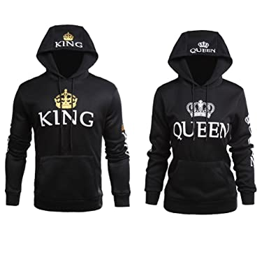077c5846e9 YJQ King Queen Matching Couple Crown Pullover Hoodie Sweatshirts Black 02  Men 2XL +Women L