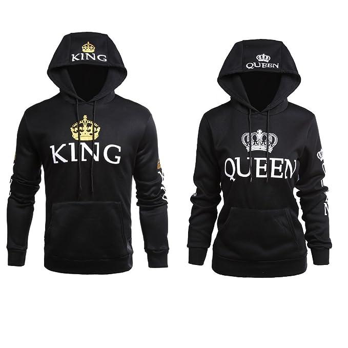 Stephaee King Queen Kapuzenpullover Set Pärchen Pullover