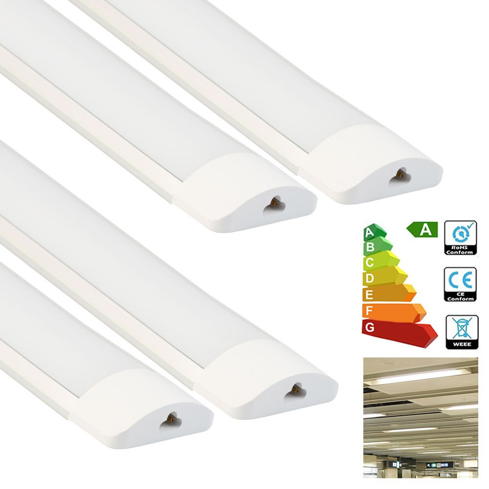 4 Pack Excellent LED Batten Lights,6000-6500k,Super Bright White Light,4FT 36w Linkable Length 25cm LED Fixture Garage Shop Lights