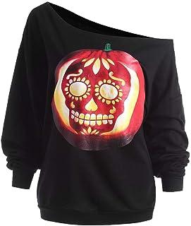 Kingwo Femme Sweat-Shirt Imprimé Citrouille Diable Halloween Shantou imprimé Chemise à col Roulé Chemise à Manches Longues
