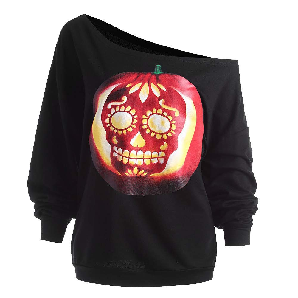 Maonet Women's Halloween Pumpkin Devil Sweatshirt Pullover Tops Blouse Shirt (XL, Black)
