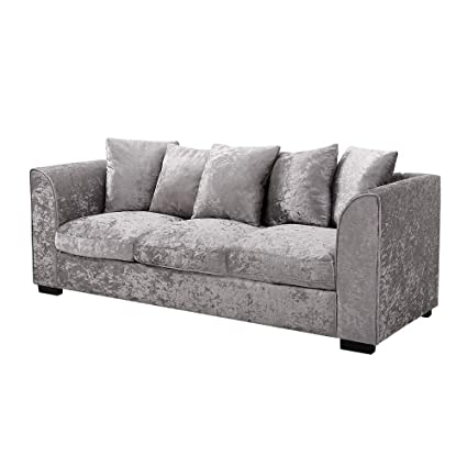 Wellgarden Crushed Velvet Corner Sofa 3 Seater Fabric Sofa Settee Living  Room Fabric Sofa Couch with 5 Pillows, Upholstered Cushion, Silver Colour  (3 ...