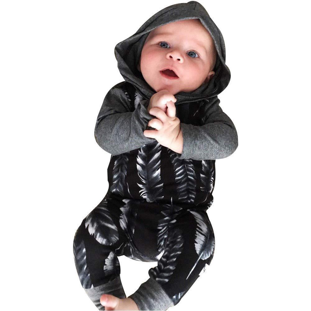YanHoo Ropa para niños Mono Largo con Capucha y plumita de bebé Recién Nacido bebé niño niña con Capucha de la Pluma del Mameluco del Mono Trajes Ropa Cheap Ropa de niños