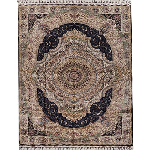 (Vintage Persian Carpet Hand Knotted Oriental Silk Rug for Living Room (10' x 14') )