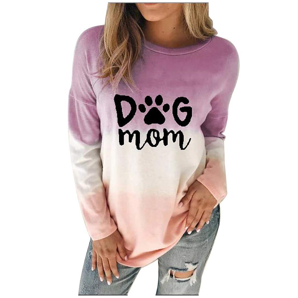 EDC Womens Tie Dye Letter Printed Sweatshirt Dog MOM Crewneck Long Sleeve Pullover Tops Blouse Shirts Plus Size .S-5XL