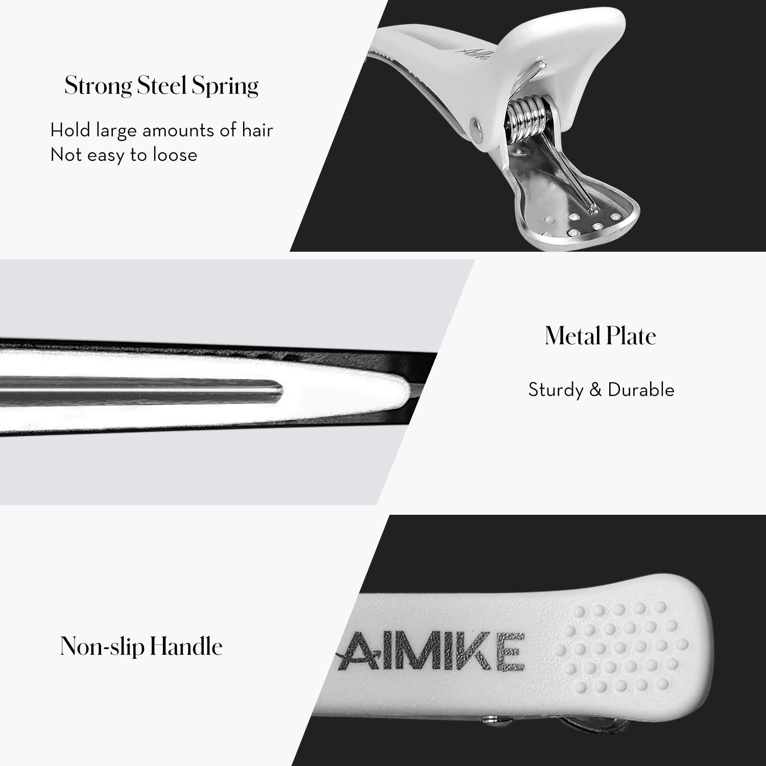 Hair Clips, AIMIKE 6 Pack Hair Clips for Styling and Sectioning, Non Slip Hair Clips with Silicone Band, No-Trace Hair Clips for Thick and Thin Hair - Professional Salon Hair Clips : Beauty