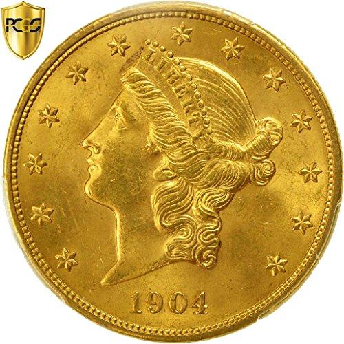 - 1904 No Mink Mark Liberty Head 20, Double Eagle PCGS MS65
