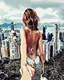 TianMai Paint by Number Kits - Fashion City Hand Love 16x20 inch Linen Canvas Paintworks - Digital Oil Painting Canvas Kits for Adults Children Kids Decorations Gifts (No Frame)
