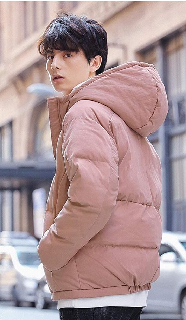 UNINUKOO Unko Mens Winter Puffer Zipper Front Hooded Quilted Coat Outerwear