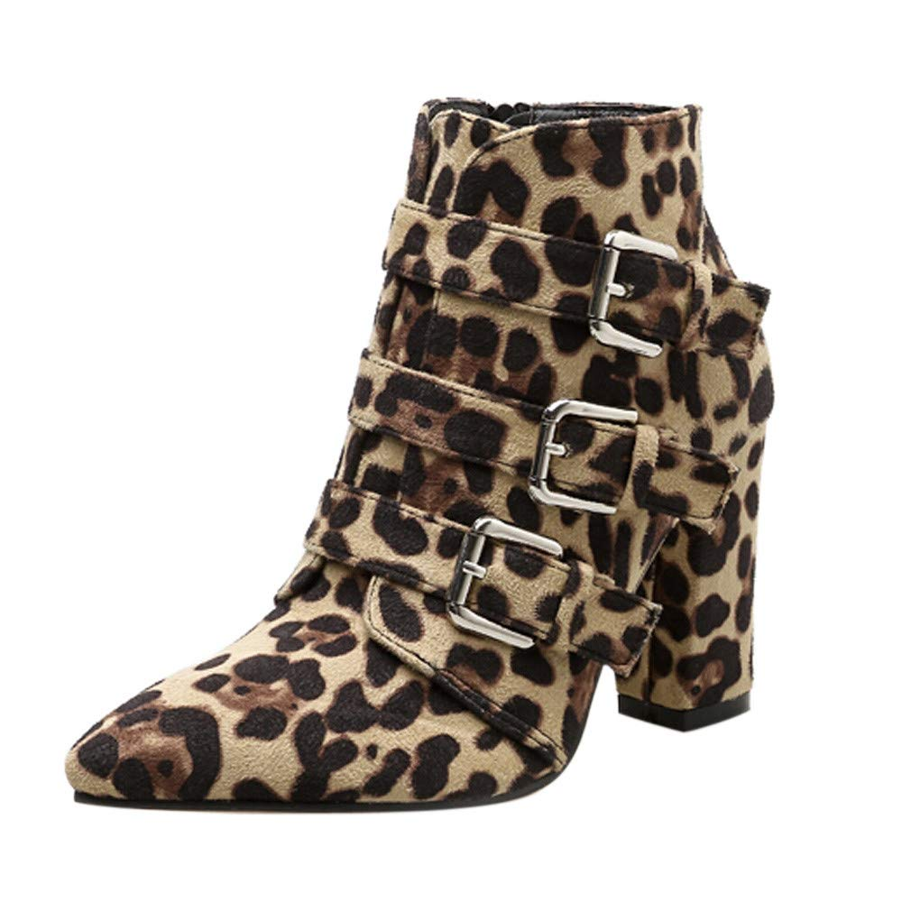 Sale! Teresamoon Women Snakeskin Pattern Toe Zip Belt Buckle Thick Pointed Booties Shoes Boots by Teresamoon-Shoes (Image #1)