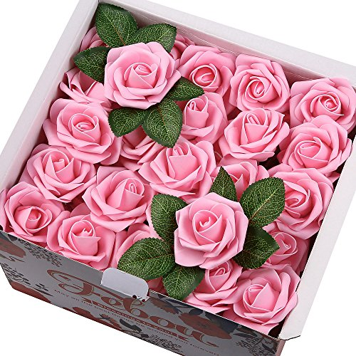 Pink Bouquet Rose Hot (Febou Artificial Flowers, Real Touch Artificial Foam Roses Decoration DIY for Wedding Bridesmaid Bridal Bouquets Centerpieces, Party Decoration, Home Display (Concise Type, Hot Pink))