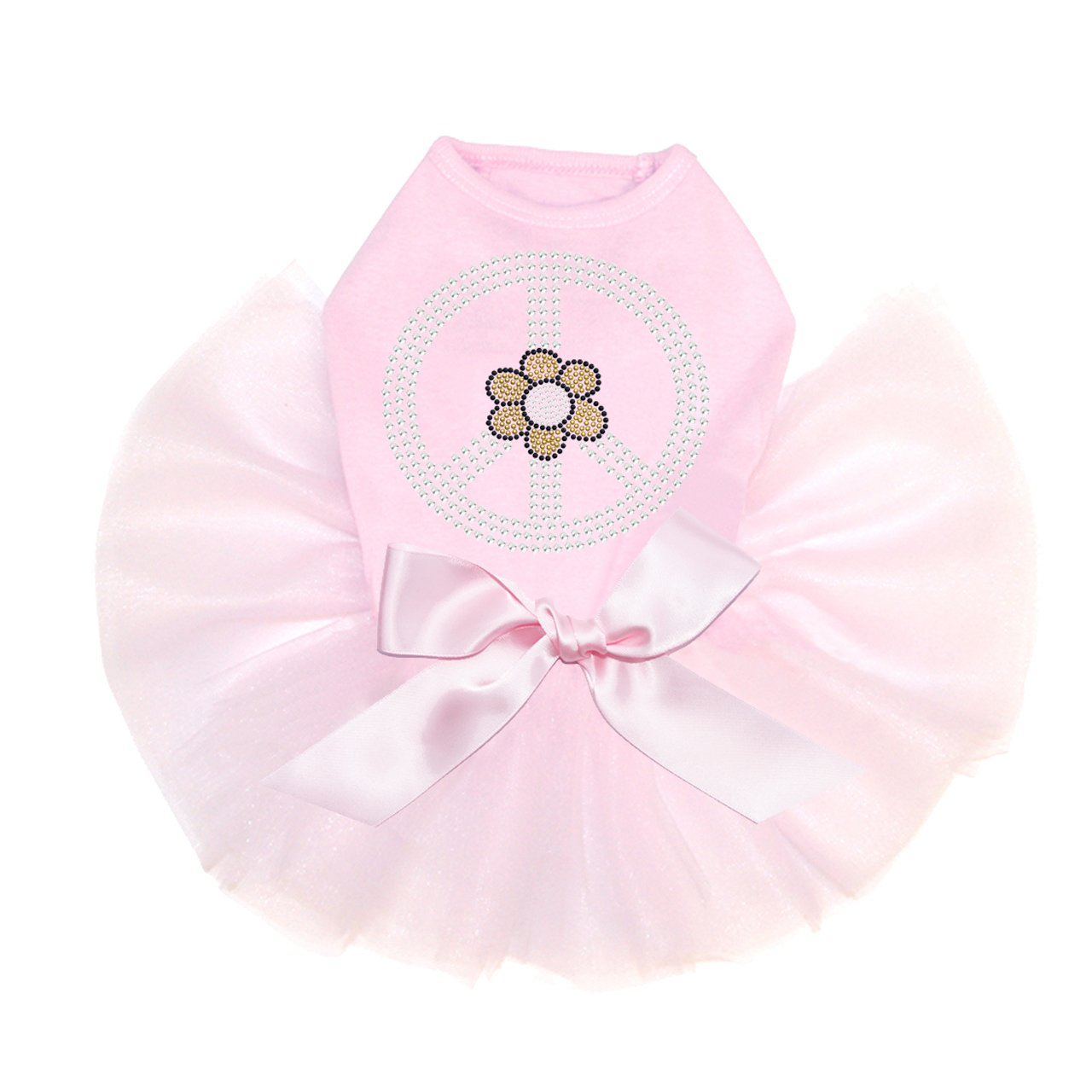 Peace Sign with Daisy - Bling Rhinestone Dog Tutu Dress, 3XL Pink