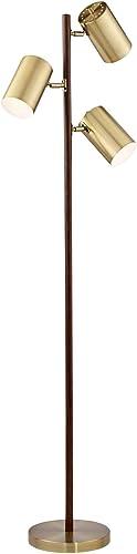 Donatello Walnut and Brass 3-Light Tree Floor Lamp