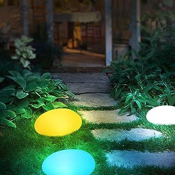 Lámparas de jardín color LED lámpara de patio Ghiaia lámpara de exterior de plástico impermeable y anticaída para exteriores con mando a distancia recargable luces jardín: Amazon.es: Iluminación