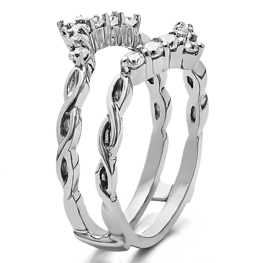 TwoBirch 0.45 ct. Cubic Zirconia Infinity Chevron Ring Guard Enhancer in Rose Gold Plated Sterling Silver (1/2 ct. twt.) by TwoBirch (Image #2)