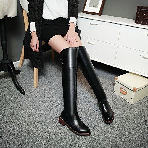 Latasa Womens Vintage Buckle Strap Mid Chunky Heel Tall Jodhpur Boots Riding Boots with Zipper Black JPS4oGRye