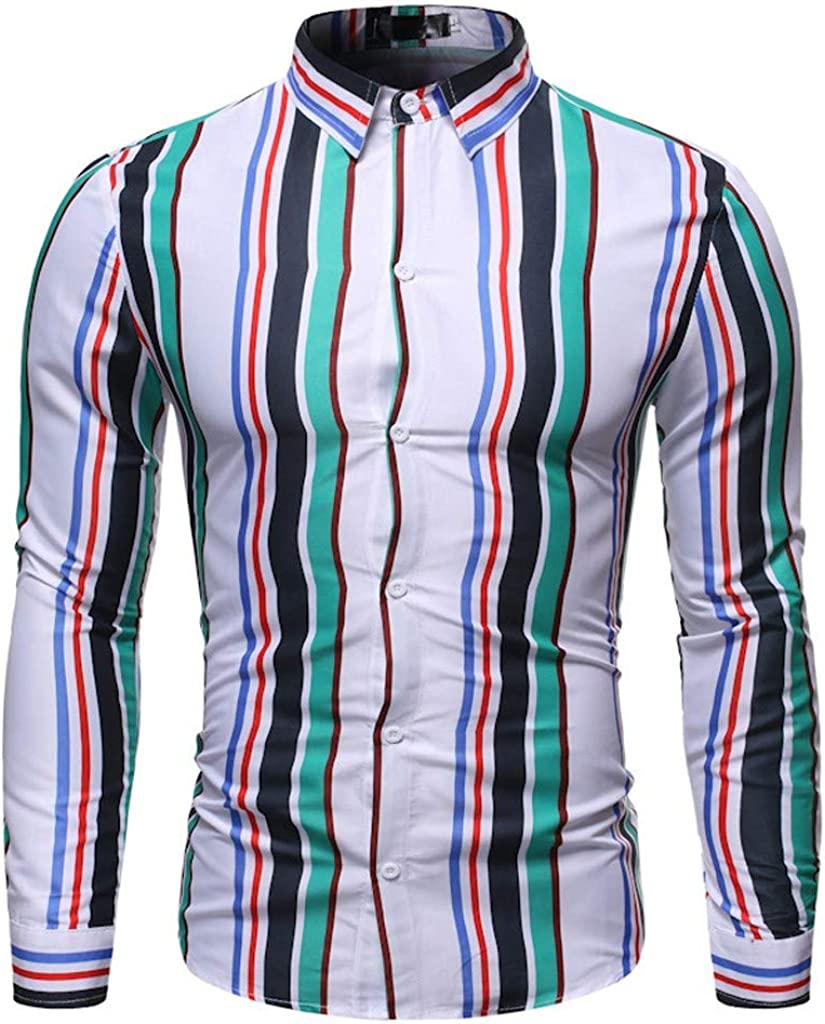 willsa Casual Business Striped Plaid Mens Casual Button Turn-Down Collar Slim Fit Long Sleeve Top Shirt Blouse