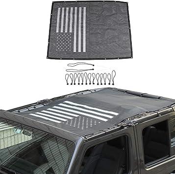 US Flag JeCar Mesh Sunshade Sun Bikini Top with Trunk Sunshade UV Protection for Jeep Wrangler 2018 2019 JLU