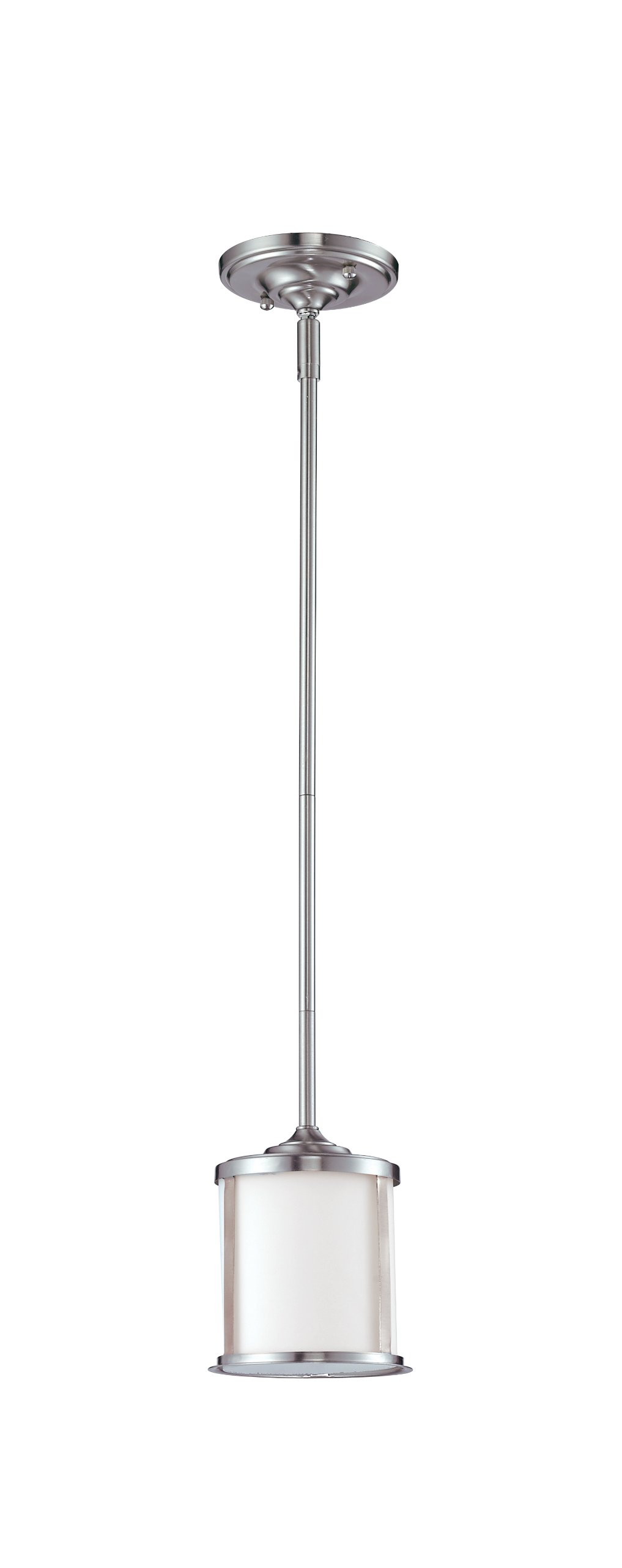 Z-Lite 2002MP-BN Sonna One Light Mini Pendant, Steel Frame, Brushed Nickel Finish and Matte Opal Shade of Glass Material