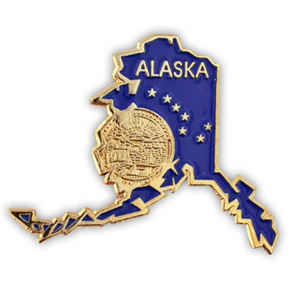 PinMart's State Shape of Alaska with the Alaska Flag Lapel Pin 1-1/4''