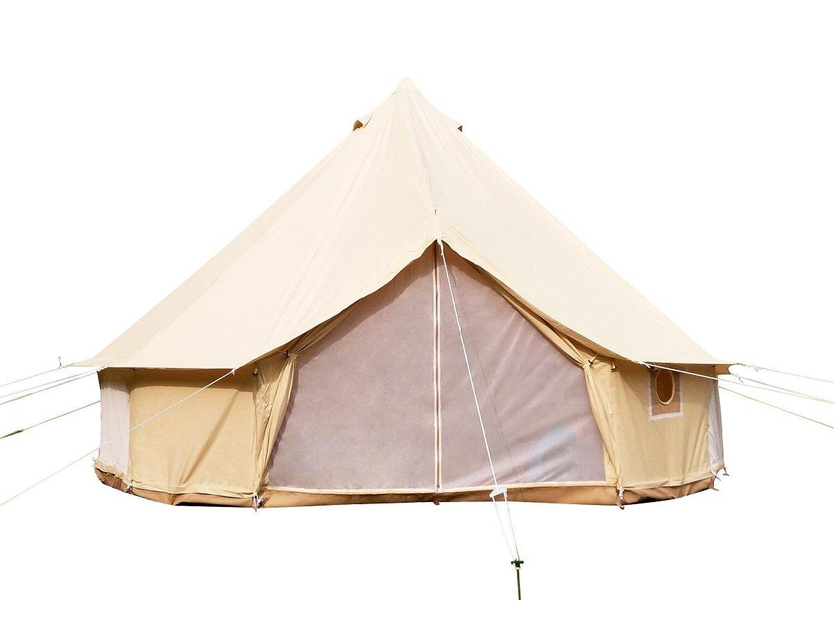 Safari Camping Toile de Coton Tente de Bell avec Fermeture éclair en Tapis de Sol étanche Tente en toile de coton beige Diameter 4m