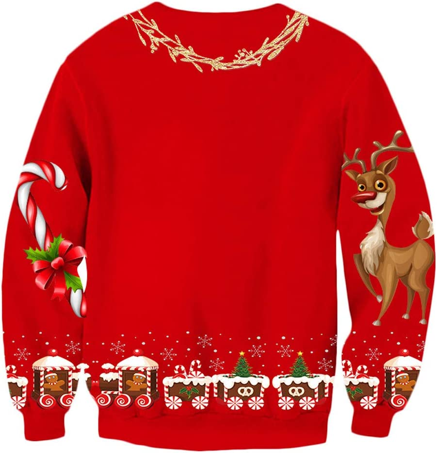 Women Ugly Christmas Sweater 3D Printed Funny Graphic Pullover Sweatshirts for Party Long Sleeves Crew Neck Blouse Tops