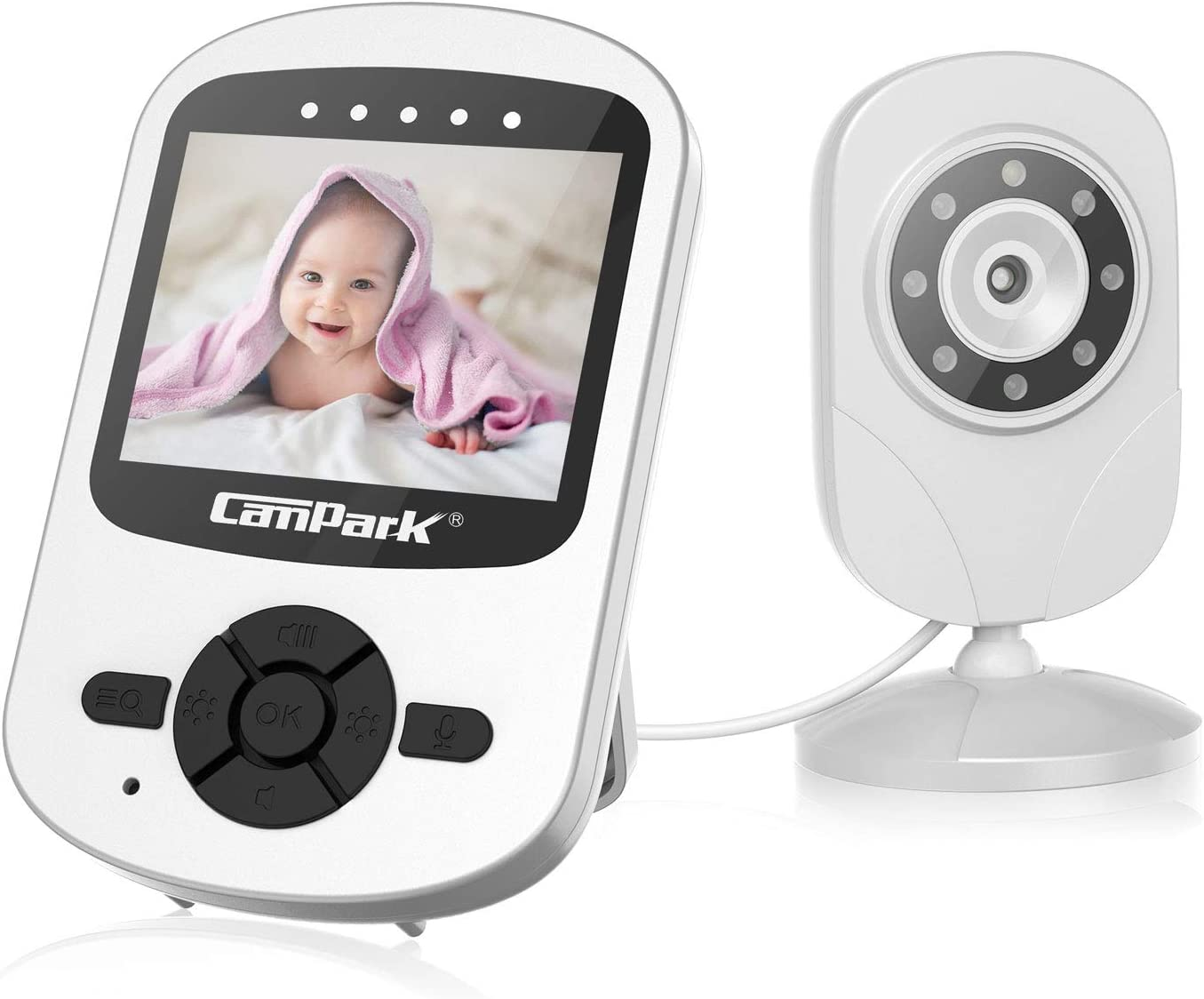 Campark Baby Monitor with Camera Wireless Video Digital Cam with Infrared Night Vision 2-Way Talk 2.4 LCD 2.4GHz Temperature Sensor VOX Support Multi-Camera
