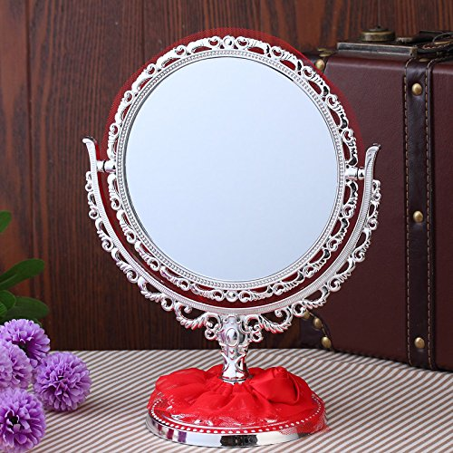 good Beauty Mirror Makeup Mirror Magnification Vanity Cosmetic Mirrors Shaving Mirror Red Wedding Mirror Pearl Rose Lace Desktop Make-Up Mirror Dressing Mirror Wedding Gift,Round,20.5×25.5Cm