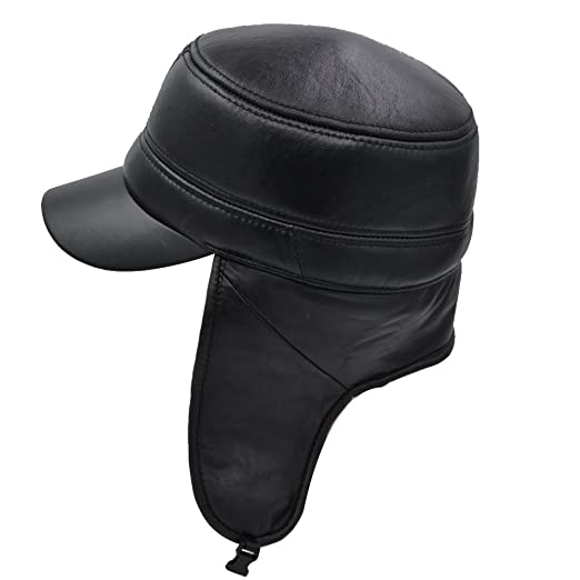 7aaa40593036e8 Image Unavailable. Image not available for. Color: IFSUN Aviator Hat  Earflap Leather Pilot Cap Adult Men Winter Trapper ...