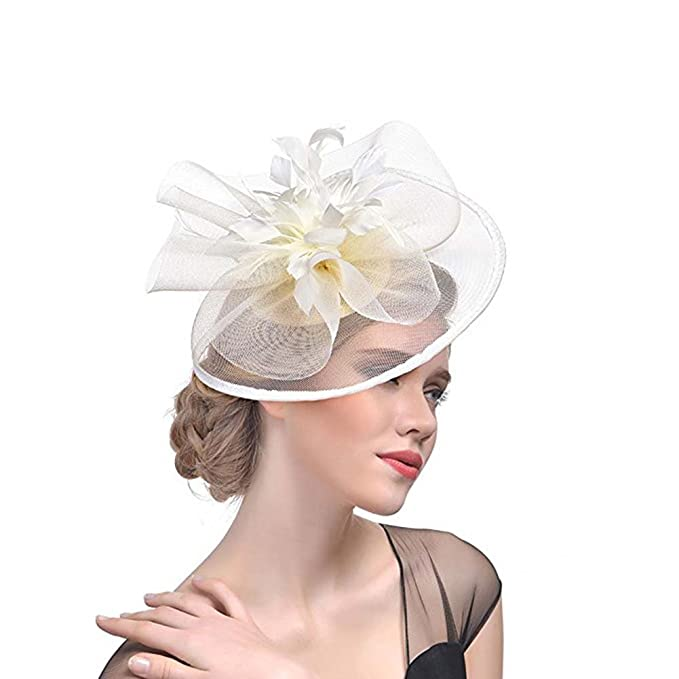 ACTLATI Fascinator Hats for Women Mesh Feather Flower Cocktail ... abc836f6e768