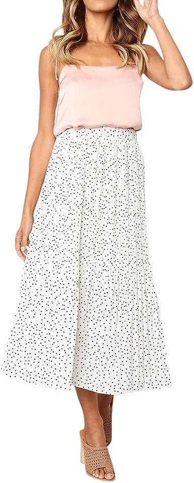 QINGXIA_ZI Femme Coupe Slim Jupe,Jupe Midi Fluide Grande Taille Imprimée Jupe Longue Vintage Taille Haute Décontracté Jupe Plissée Jupe Évasée Couleur