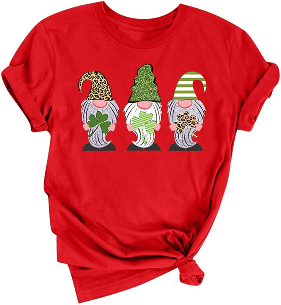 KaloryWee St Patricks Day Ladies T Shirts,Casual Printed Short Sleeve Knot Front Womens St Patricks Day Fancy Dress